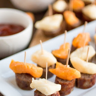 Grilled Sausage-Cheese Bites with Two Easy Dippers