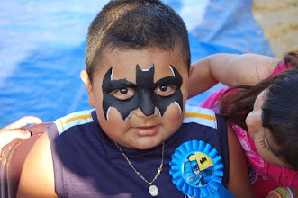 Photo: Superhero Batman face paint by Bella the Clown, Colton, Ca Call to book Bella today at 888-750-7024