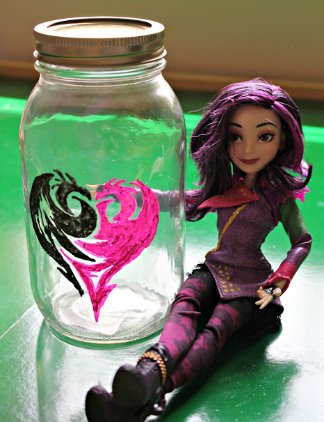 Disney Descendants Mal DIY Painted Jar - makes great storage for your Descendants doll accessories, your kid's hair accessories, collect change, or anything else!