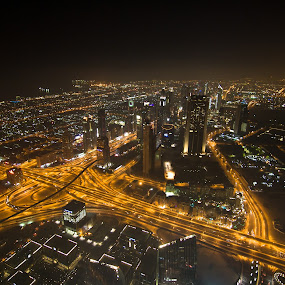 At the Top by Sebastian Tontsch - City,  Street & Park  Skylines ( skyline, skyscraper, dubai, art, night )