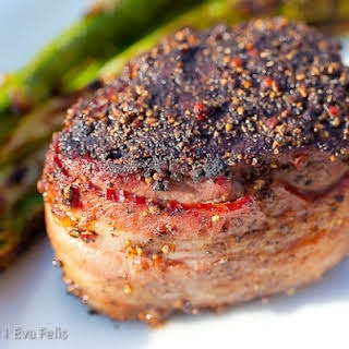 Grilled Peppercorn-crusted Filet Mignon.