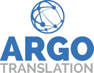 Argo translation, logo, vertical, blue, gray, globe