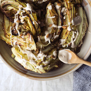 Roasted Cabbage Wedges with Garlic Tahini and Toasted Pepitas