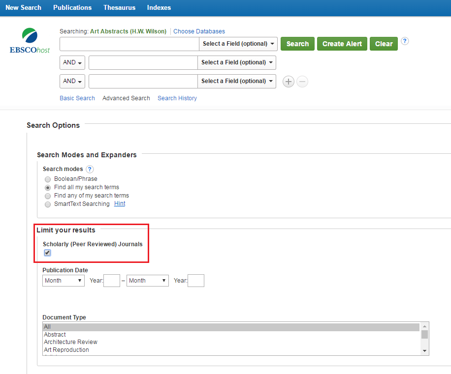 Ebscohost interface with Scholarly and Peer Review filter highlighted