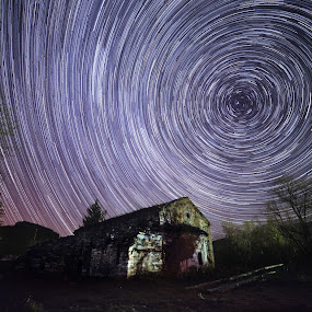 Star trails over the church by Vladeta Manic - Landscapes Starscapes ( church, stars, night, star trails, nikon,  )