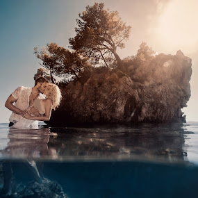 From Brela with love by Antonio Rossetti - Wedding Bride & Groom ( water, tree, underwater, croatia, sea, rock, couple, brela )