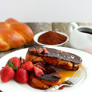 Chocolate French Toast with Candied Bacon.