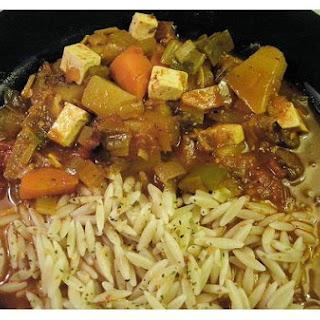 Vegetarian Goulash Soup With Tofu.