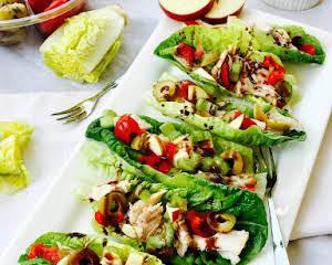 Gem lettuce, chicken and apple little boats