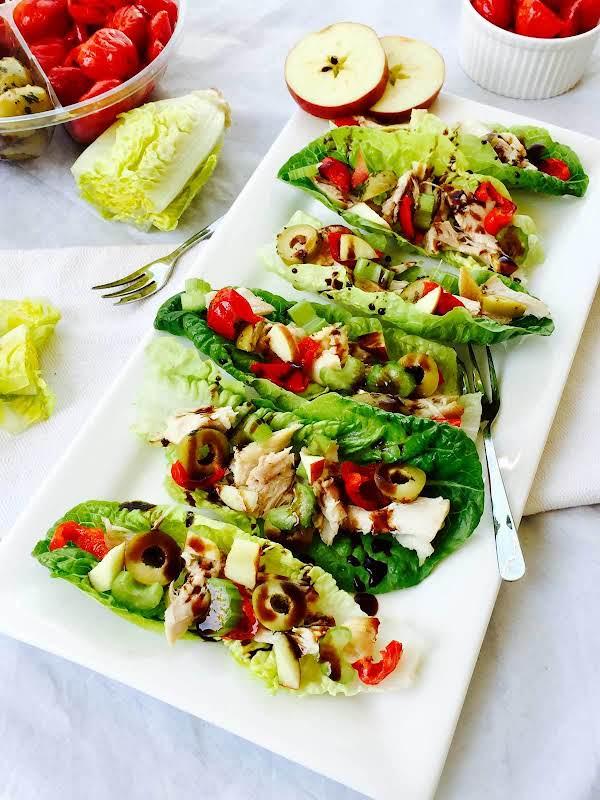 Gem Lettuce, Chicken And Apple Little Boats Recipe