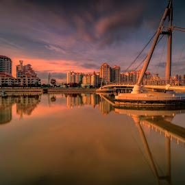 by Gordon Koh - Buildings & Architecture Bridges & Suspended Structures ( reflection, asia, city park, long exposure )