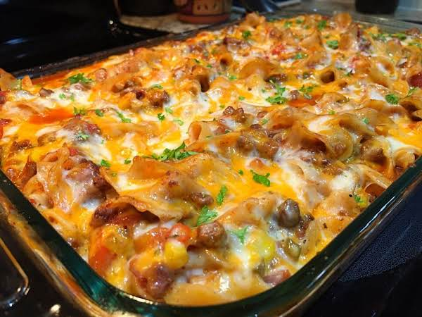 A Beef Casserole With Melted Cheese.
