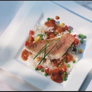 Gemüserisotto mit Fisch