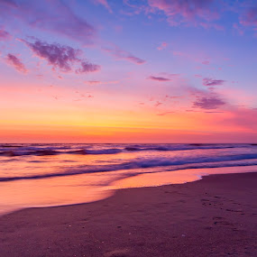 Sunrise on Seven Mile by Andy Hutchinson - Landscapes Beaches ( waves, beach, sunrise, surf )