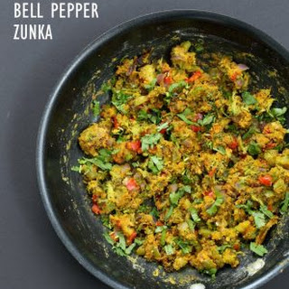 Broccoli Zunka Recipe - Broccoli & Bell Pepper with Spices, Chickpea flour.