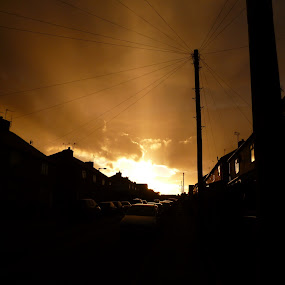 Sunset by Kirsty Adams - City,  Street & Park  Street Scenes ( cars, sunset, street, mexborough, sun )