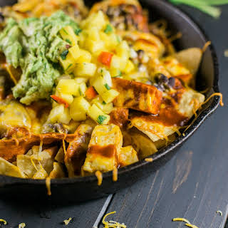 Red Chile Vegetarian Nachos With Chipotle Tofu.