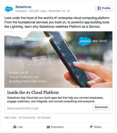Salesforce, an enterprise cloud computing platform. Source: HubSpot