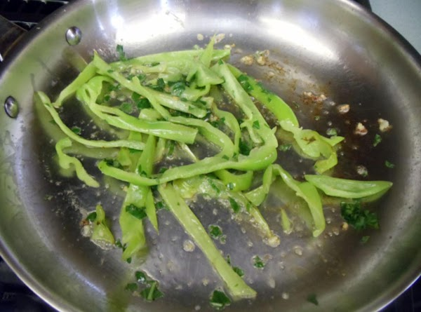 Put 1/2 of butter in frying pan.  Cook garlic and Italian pepper. ...