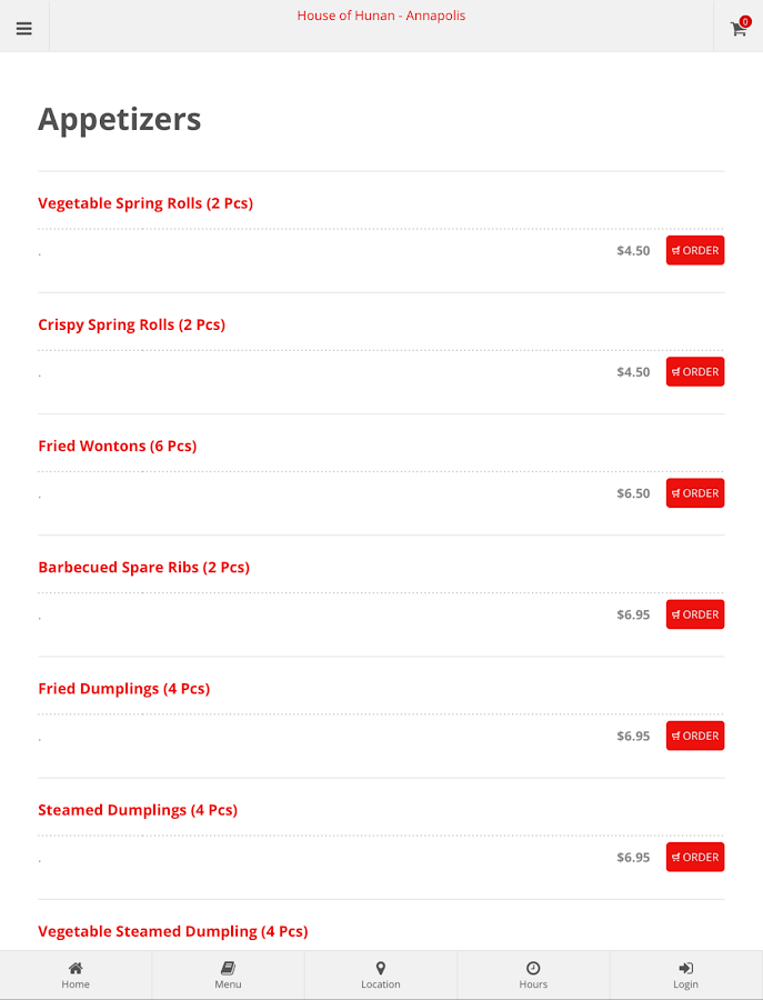House of Hunan Annapolis Online Ordering- screenshot