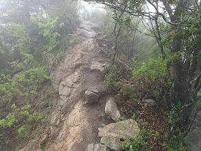 細尾根の岩場