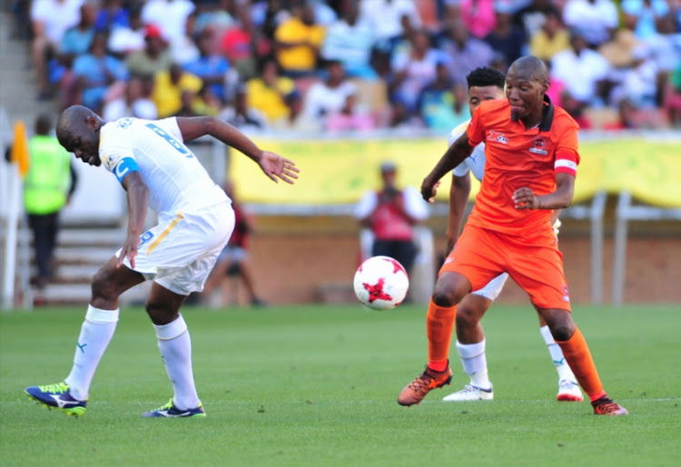 Jabulani Maluleke of Polokwane City and Hlompho Kekana of Mamelodi Sundowns during the Absa Premiership match between Polokwane City and Mamelodi Sundowns at Peter Mokaba Stadium on January 06, 2018 in Polokwane, South Africa.