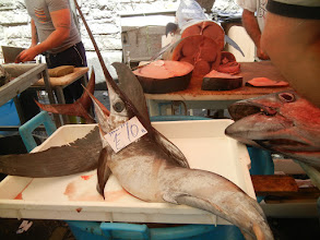 Photo: We took a walk around the fish market. Swordfish is a favorite in Catania.