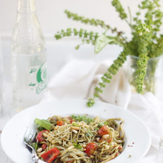 Pasta with Basil Pesto, Pine Nuts and Cherry Tomatoes.