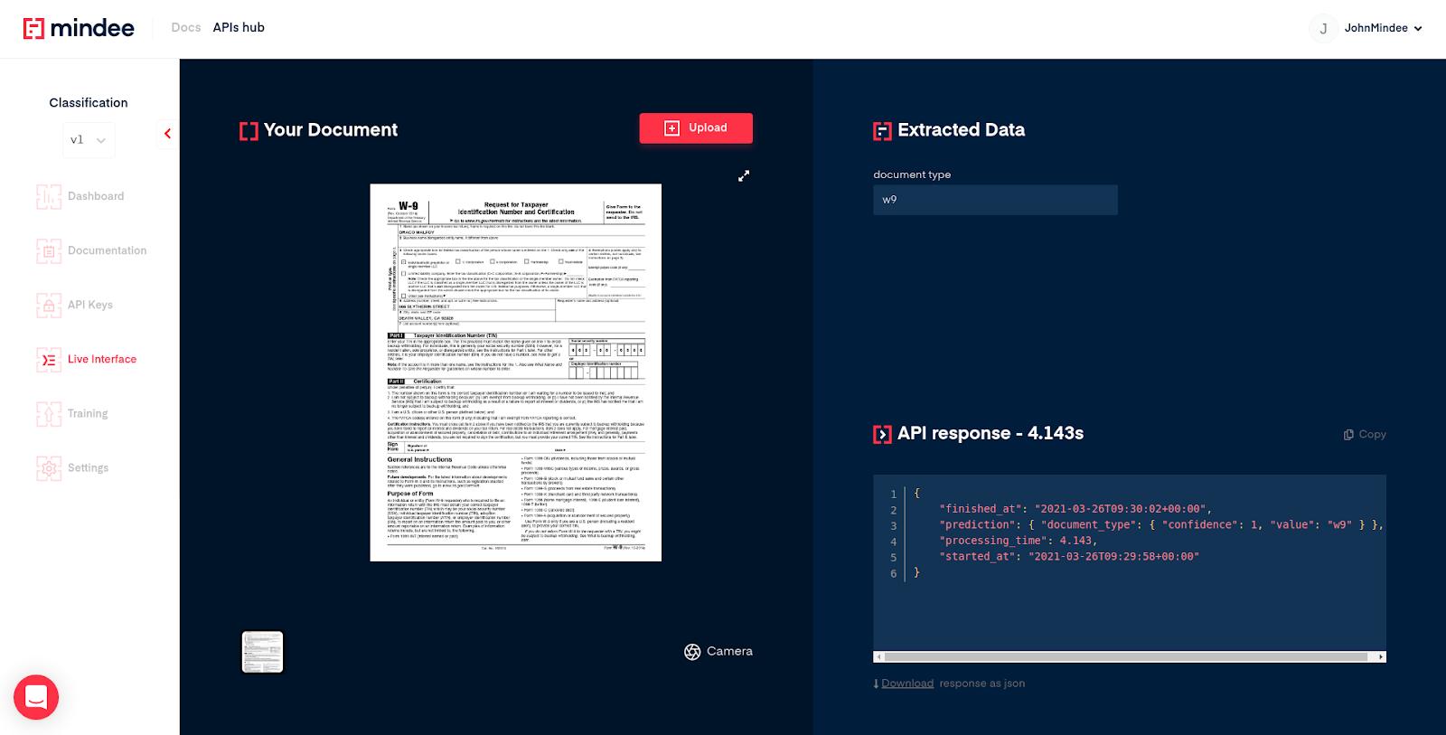 Document classification API live interface