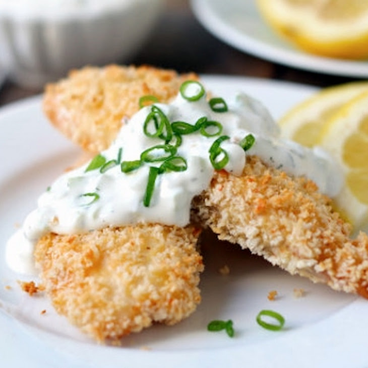 Crunchy Baked Fish Sticks with Cucumber Dill Sauce