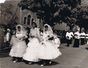 Photo: 1958 May Procession_Camille Savoy-May Queen_Rosa Hamilton_Jean Holmes_St Cyprian Parish