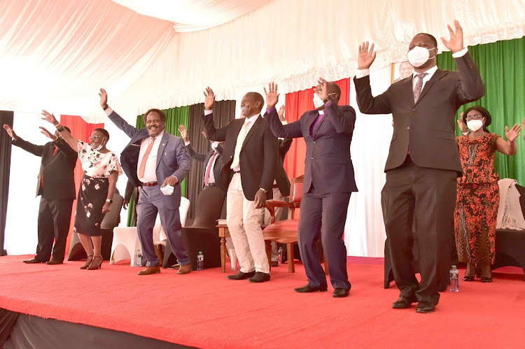 Deputy President William Ruto with Meru County Ministers Forum under the patronage of Bishop Edward Mburia at Karen Residence on September 1, 2020