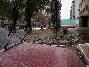 Photo: shallow snow, 1st of winter 2010: scene outside of benzrad's QRRS office.