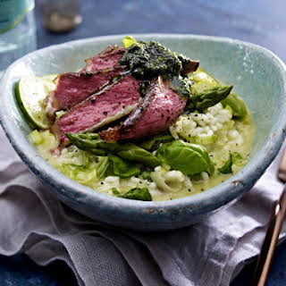 Lime Risotto with Sirloin Steak and Pumpkin Seed Pesto.