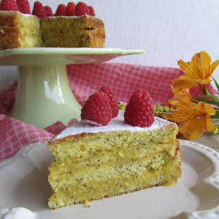 Poppy Seed Cake with Passionfruit Jam Filling.