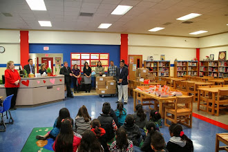 Photo: TASA directory distribution at Frank Madla Elementary School Library