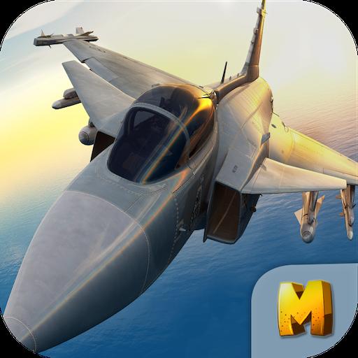 动作のF18ジェット戦闘機のエアストライク3D LOGO-記事Game