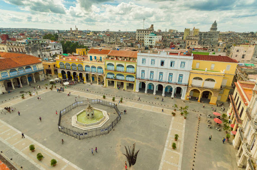 Cuba-City-Square-Aerial-Photo_01.jpg - Plaza Vieja in Old Havana, Cuba, has been a gathering place for locals for centuries.