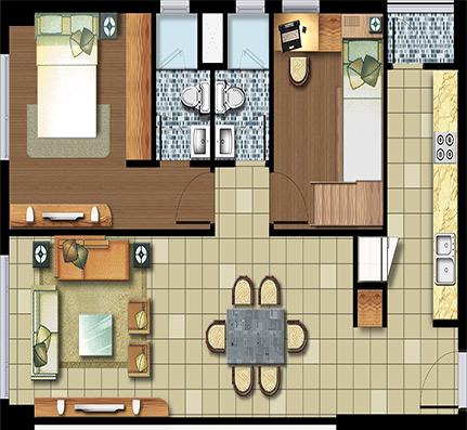 2 phòng ngủ 72.5 m²