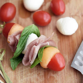 Cantaloupe Prosciutto Skewers with Mozzarella and Tomatoes.
