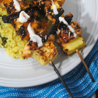 30 Minute Pina Colada Grilled Chicken Kabobs.