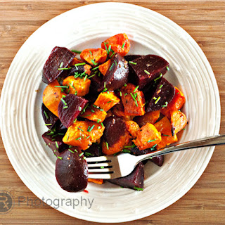 Roasted Sweet Potato and Beets Salad with a Lemon-Truffle Vinaigrette