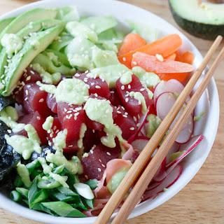 Tuna Sushi Bowl with Avocado Wasabi Dressing Recipe