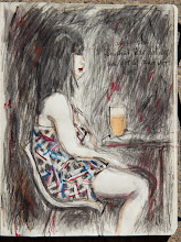 """Photo: '...when she finished her drink, she got up and left.' 2013, Brenda Clews, 7.5"""" x 10"""", graphite, charcoal and watercolours, Moleskine Notebook. Sketch done at Future Bakery in Toronto on evening of Sat July 13th (she didn't know she was being sketched)."""