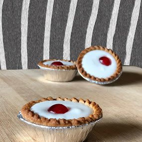 bakewell tarts by Annalie Coetzer - Food & Drink Candy & Dessert ( cherry, tarts, bakewell, home baked, sweet, zebra stripes, confectionary, bakewell tarts, delicious, cherries )