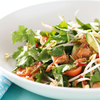 Salmon and herb Thai salad with chilli lime dressing