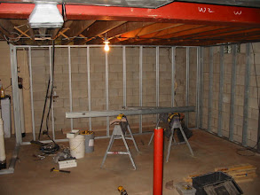 Photo: Day one of construction... Front wall where screen will go.