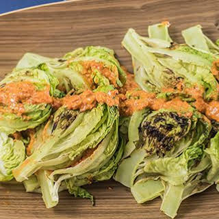 Grilled Romaine Lettuce With Romesco Sauce.