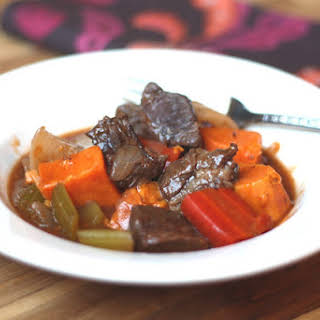 Beef Stew with Sweet Root Vegetables.