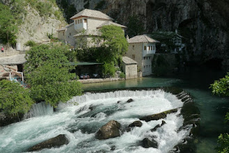 Photo: Blagaj Tekija (formerly old Dervish monastery) and source of Buna river next to it